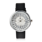 STRADA Japanese Movement White Austrian Crystal and Simulated Diamond Studded Water Resistant Watch