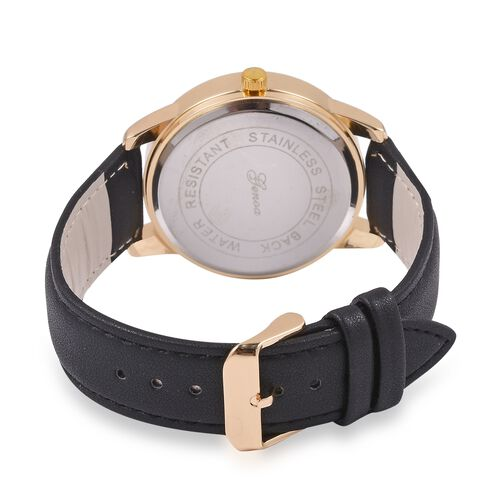 TJC GENOA Faceted Sunray Dial Japanese Movement Water Resistant Watch with Black Dial and Black Colour Strap