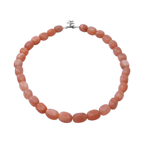 GP Peach Moonstone and Blue Sapphire Beaded Necklace and Charm in Rhodium Plated Silver 18 Inch