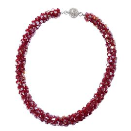 Red Magic Color Glass and White Crystal Beaded Necklace 20 Inch
