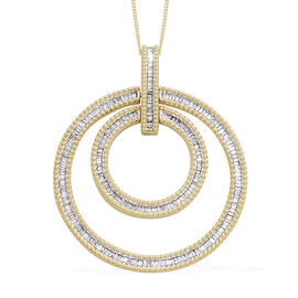 Diamond (Bgt) Circle Pendant with Chain (Size 18) in 14K Gold Overlay Sterling Silver 1.00 Ct, Silve