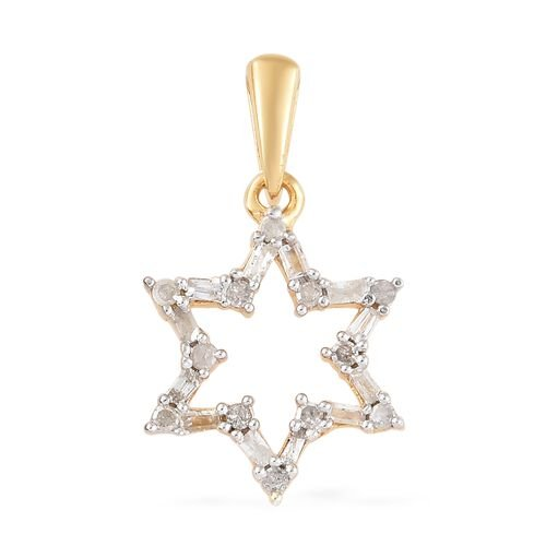 Diamond (Rnd and Bgt) Star Pendant in 14K Gold Overlay Sterling Silver 0.150 Ct.