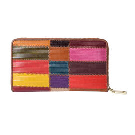 Multi Colour Genuine Leather Clutch Wallet with Zipper Closure in Gold Tone (Size 19x2x10cm)