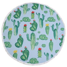 Green, Red and Multi Colour Cactus Pattern Microfiber Round Towel with Fringes (Size 150 Cm)