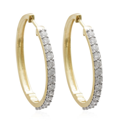 9K Yellow Gold SGL Certified Diamond (Rnd) (I3/G-H) Hoop Earrings (with Clasp Lock) 1.000 Ct, Gold wt. 5.43 Gms