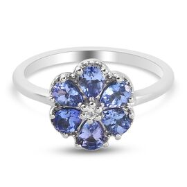 Tanzanite and Natural Cambodian Zircon Floral Ring in Platinum Overlay Sterling Silver 1.00 Ct.
