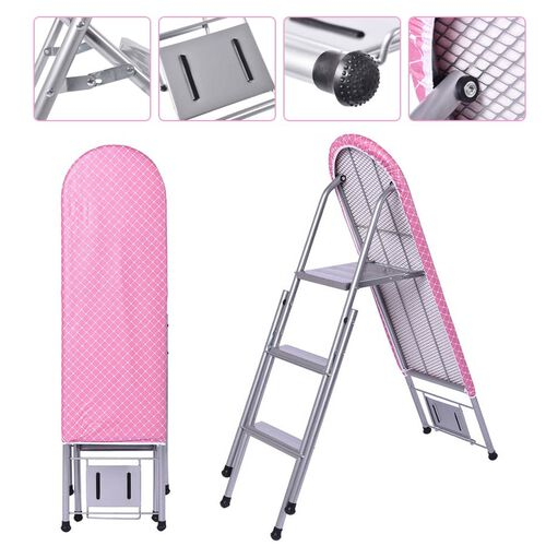 Multi-function Foldable Ironing Board with Step Ladder - Pink (Folding Size: 96x34cm) (Open Size: 125x34x85)