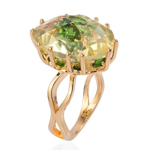 Rose Cut Lemon Quartz (Ovl 11.00 Ct), Russian Diopside Ring in Yellow Gold Overlay Sterling Silver 12.500 Ct.