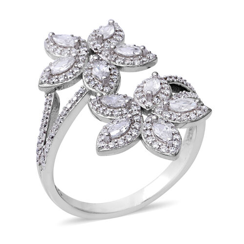 ELANZA Simulated Diamond Floral Bypass Ring in Rhodium Plated Sterling Silver