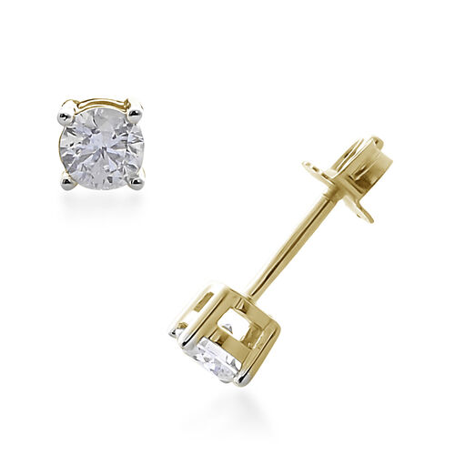 9K Yellow Gold SGL Certified (I3/G-H) Diamond (Rnd) Stud Earrings (with Push back) 0.250 Ct.