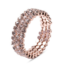 Austrian White Crystal Bangle (Size 6.5) in Rose Gold Tone