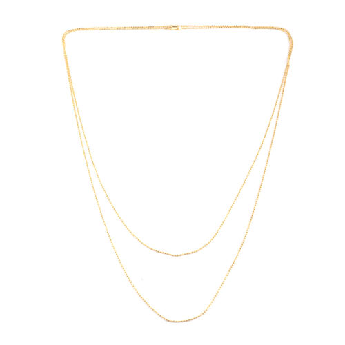 JCK Vegas Collection 14K Gold Overlay Sterling Silver Double Strand Bead Necklace (Size 60), Silver wt 9.80 Gms.