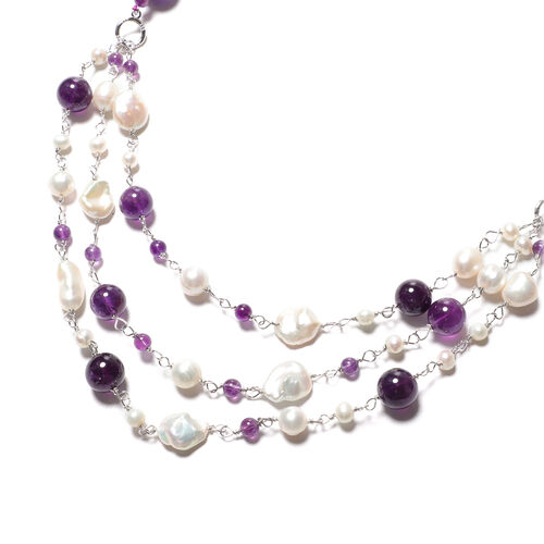 GP- Amethyst and Freshwater Pearl Necklace (Size 24 with 3 inch Extender) in Rhodium Overlay Sterling Silver 364.00 Ct.