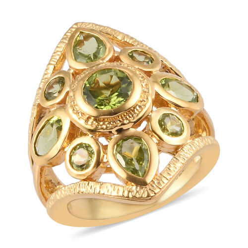 4.40 Ct Hebei Peridot Cluster Ring in Gold Plated Sterling Silver
