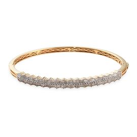 GP - Diamond (Bgt), Blue Sapphire Bangle (Size 7.5) in 14K Gold Overlay Sterling Silver 1.52 Ct, Sil