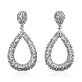 ELANZA Simulated Diamond (Rnd) Drop Earrings (with Push Back) in Rhodium Overlay Sterling Silver