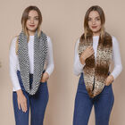 2 Piece Set - Zig Zag and Leopard Pattern Faux Fur Infinity Scarf  (Size 80x16 Cm) - Black, White, B