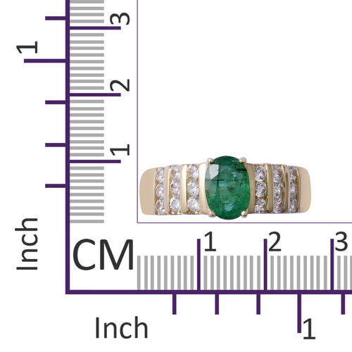 9K Yellow Gold AA Kagem Zambian Emerald (Ovl 7x5 mm), Natural Cambodian White Zircon Ring 1.400 Ct.