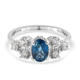 London Blue Topaz and Natural Cambodian Zircon Ring in Platinum Overlay Sterling Silver 1.05 Ct.