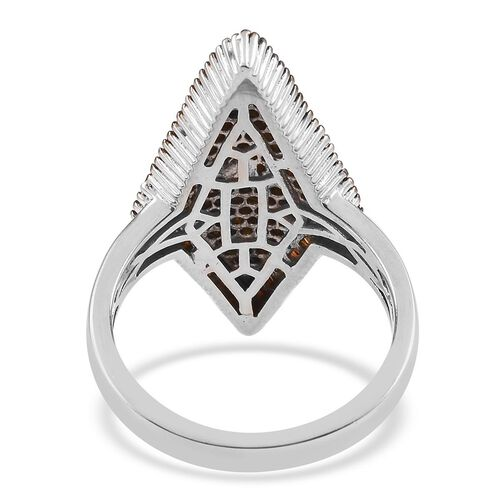 Red Diamond Cluster Ring in Platinum Overlay Sterling Silver 1.00 Ct