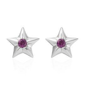 Purple Garnet (Rnd) Star Stud Earrings (with Push Back) in Platinum Overlay Sterling Silver 2.00 Ct.