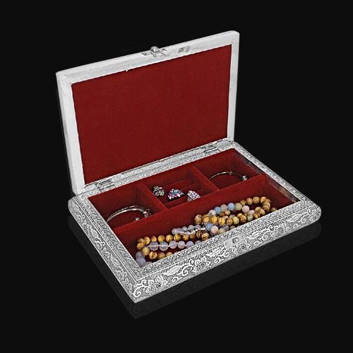 3D Embossed Collection Handcrafted Oxidized Book Shaped Jewellery Box with Peacock Design (Size: 27.9 x 21.6 Cm)