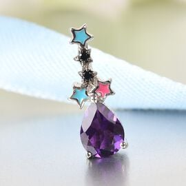 GP Celestial Dream Collection - Amethyst, Black Spinel and Kanchanaburi Blue Sapphire Pendant in Platinum Overlay Sterling Silver 0.960 Ct.