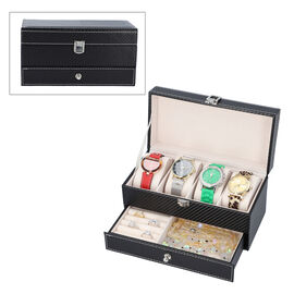 Two-Tier Jewellery Box with Padded Watch Slots (22.3x10.7x11cm) - Black