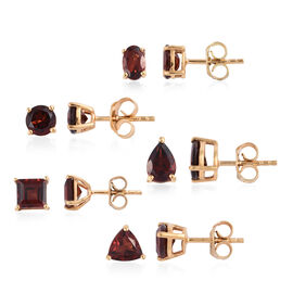 Set of 5- AA Mozambique Garnet (7.50 Ct) Earrings (with Push Back) 14K Gold Overlay Sterling Silver