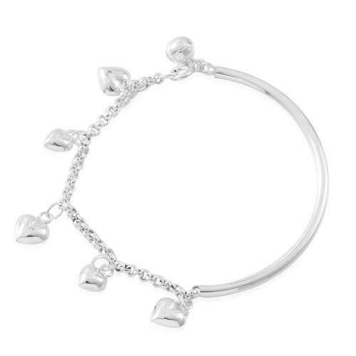 Designer Inspired-Vicenza Collection Sterling Silver Heart Charm Bracelet (Size 7.5), Silver wt. 8.50 Gms.
