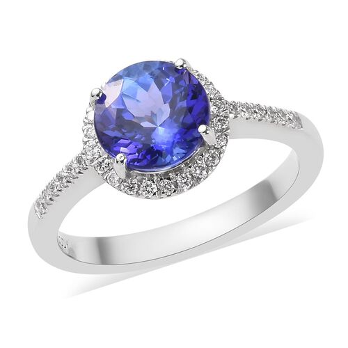 RHAPSODY 950 Platinum AAAA Tanzanite (Rnd 7.5mm), Diamond (VS/E-F) Ring 2.00 Ct. Platinum Wt 5.00 Gr