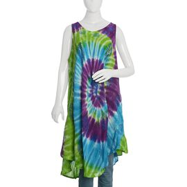 Purple and Multi Colour Tie and Die Umbrella Dress (Size 116x132 Cm)