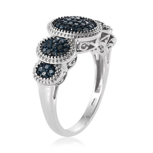 Blue Diamond (Rnd) Ring in Platinum Overlay Sterling Silver 0.500 Ct.
