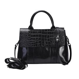 Hong Kong Closeout Collection Genuine Leather Womens Convertible Bag with Two long Strap - Black