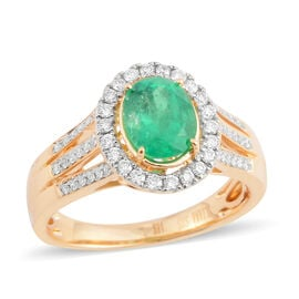 Iliana Colombian Emerald (1.28 Ct) and Diamond 18K Y Gold Ring  1.660  Ct.