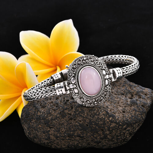 Royal Bali Collection - Peruvian Pink Opal (Ovl 18x13mm) Tulang Naga Bracelet (Size 8) in Sterling Silver 8.77 Ct, Silver wt 35.55 Gms