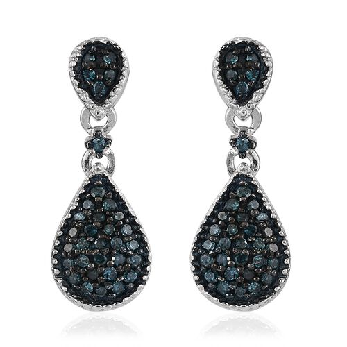 Blue Diamond (Rnd) Drop Earrings (with Push Back) in Blue Rhodium and Platinum Overlay Sterling Silver 0.320 Ct.