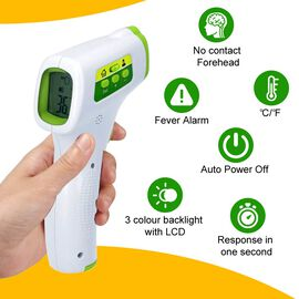 Handheld Digital No Contact Forehead Infrared Thermometer (Size 15.4x9.6x4.2 Cm) - Green and White