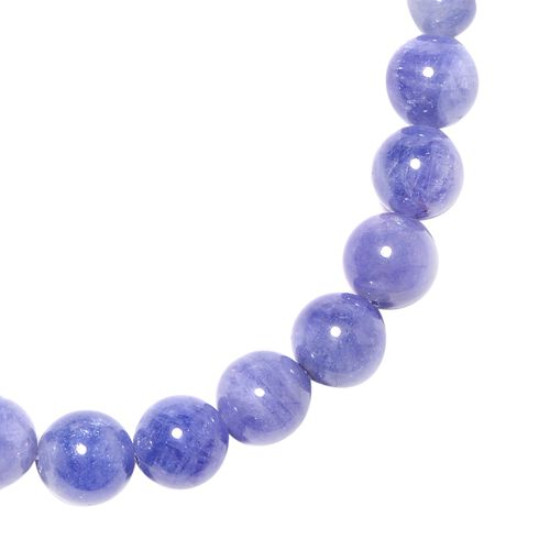 Tanzanite (Rnd) Beads Necklace (Size 20) with Magnetic Lock in Rhodium Overlay Sterling Silver 206.00 Ct