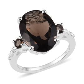 Brazilian Smoky Quartz (Ovl and Rnd) Ring in Sterling Silver 5.00 Ct.
