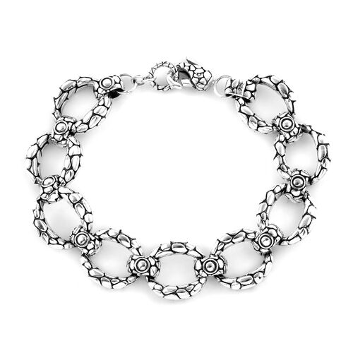 Bali Legacy Collection 18K Yellow Gold and Sterling Silver Pebble Curb Link Bracelet (Size 7), Metal