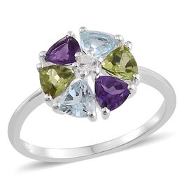 Multi GemShow Preview Auction- Amethyst (Trl), Sky Blue Topaz, Hebei Peridot and Natural Cambodian Zircon Flower Ring in Sterling Silver 2.750 Ct.