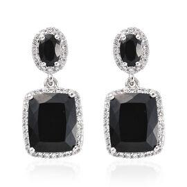 Black Tourmaline (Cush 8.40 Ct),Boi Ploi Black Spinel, Natural Cambodian Zircon Earrings (with Push