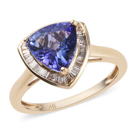 9K Yellow Gold AA Tanzanite (Trl), Diamond Ring 2.25 Ct.