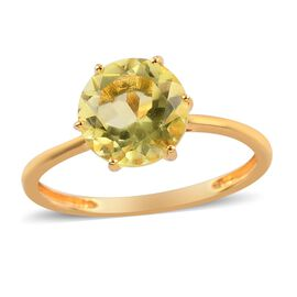 Green Gold Quartz Solitaire Ring in 14K Gold Overlay Sterling Silver 1.500 Ct.