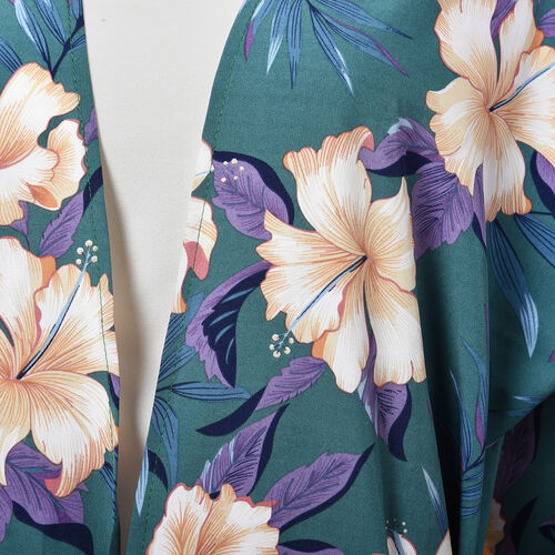 Hibiscus Flower Midi Wrap Dress; 100% Polyester Fabric - Size S/M  - Teal/Purple/Peach