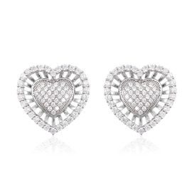 Simulated Diamond Heart Stud Earrings in Rhodium Plated Sterling Silver 4.43 Grams