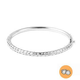 RACHEL GALLEY Rhodium Overlay Sterling Silver Allegro Kids Bangle (Size 6.2), Silver wt 14.30 Gms