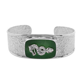 Royal Bali Collection - Greeb Jade Dragon Cuff Bangle (Size 7.5) in Sterling Silver 21.90 Ct, Silver