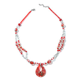 Murano Style Glass, Simulated Red Garnet and Simulated Mystic Glass Necklace (Size 28 and 2.5 inch E